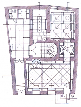 Plan of Dessa gallery, sketch by Matej Vozlič