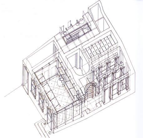 Axonometric plan of Dessa gallery, sketch by Matej Vozlič